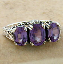 COLOR CHANGING LAB ALEXANDRITE ANTIQUE DECO STYLE .925 SILVER RING SIZE 8,  #422