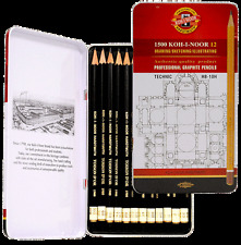 KOH I NOOR TIN SET 12 HARD GRAPHITE TECHNICAL DRAWING SKETCHING PENCILS HB -10H