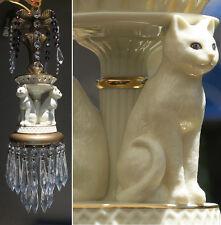 1of2 Porcelain Cat Swag Lamp Chandelier brass tole metal purple Beads crystal