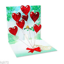 3D Heart Balloons Pop Up Greeting Card Up With Paper #618 Valentine's Day Love
