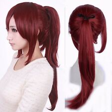 Womens Costume Long Straight Full Wig Wine Red Harajuku Cosplay Ponytail Hair