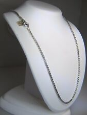 DAVID YURMAN 2.7MM WIDE BOX CHAIN STERLING SILVER & 14K DY TAG 20 INCH NECKLACE