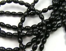 "15.5"" Strand BLACK ONYX 4x6mm Rice Oval Beads"