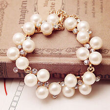 Fashion Charm Women Pearl Crystal Rhinestone Cuff Bracelet Bangle Jewelry Gift