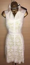 Exquisite Karen Millen Brand New Yellow White Lace Overlay Skater Dress Uk12