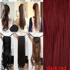 US STOCK Lady Drawstring Real natural Hairpiece Clip In Ponytail Hair Extensions