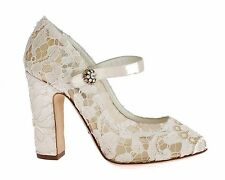 NEW $700 DOLCE & GABBANA White Taormina Lace Mary Janes Pumps Shoes EU37 / US6.5