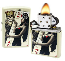 Zippo 29393 Skull King Queen Beauty Hearts Cream Matte Finish Windproof Lighter