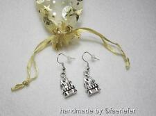 Enchanted Fairy tale castle earrings lovely gift in a pretty organza bag