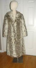 Vintage 1980s 1990s lynx print plush faux fur coat
