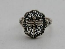 Artisan Detailed Sterling Silver Dragonfly & Web Band Ring Size 8 3/4