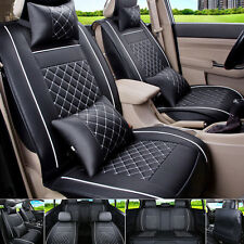 Size M Auto Car Seat Cover Front & Rear Mat PU Leather 5-Seats Black/White Cover