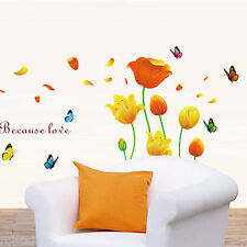 """Clearance Wall Sticker """"Romantic Flowers"""" Removable Vinyl Decal TV Background"""