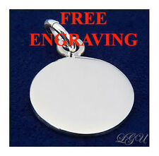 STERLING SILVER 16mm SMALL CIRCLE PENDANT FREE ENGRAVING
