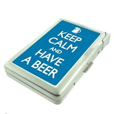 Metal Cigarette Case with Built In Lighter Keep Calm and Have a Beer Design-006