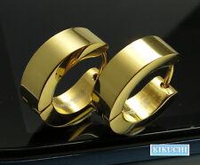 Edelstahl Creolen Ohrringe 24K Gold IP hochglänzend Herren Damen Männer Flinserl