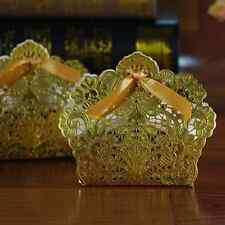 100x Laser Cut Candy Box with Ribbon Wedding Party Favor Gift Bag Gold