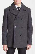 WALLIN & BROS Mens Wool Peacoat Grey Melange Fashion Jacket Coat New NWT $295