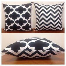40x40cm Indoor/Outdoor Black/White Moroccan/Chevron Cushion Cover