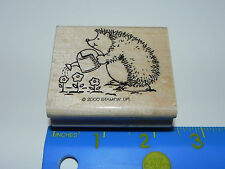 Stampin Up Rubber Stamp - Cute Hedgehog with Watering Can Watering Flowers