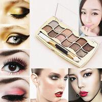 12 Farben Lidschatten Palette + Pinsel Eyeshadow Set Kosmetik schminke Makeup