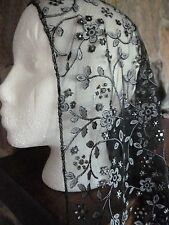 headcovering, veil, mantilla  lace black with white and silver triangle