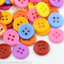 100 x Mixed Colour Plastic Shirt Buttons for Craft  4 Holes 12mm (E076)
