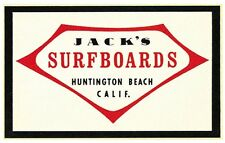Jack's Surfboards  Huntington Beach Vintage-1960's  Style  Travel  Decal Sticker