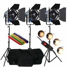 3 × 300W DIMMER MOVIE Fresnel Tungsten Spotlight Illuminazione Studio Video BORSA IMBOTTITA