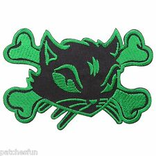 Cat Kitty Woman Lucky Skull Crossbones Skeleton Lady Rider Iron on Patch #1002