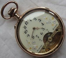 Hebdomas 8 day's Pocket Watch open face gold filled case 51,5 mm. in diameter