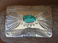 Navajo Indian Sterling Silver Hand Stamped Belt Buckle