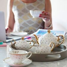 Bombay Duck 'Miss Golightly' Spotty Sugar Bowl. White with Gold Spots