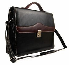 New Mens Womens Quality Faux Leather Ocello Business Briefcase Work Satchel Bag