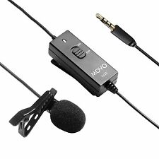 Movo LV10 Lavalier Clip-on Omnidirectional Interview Microphone for Camera/Phone