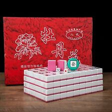 Traditional Chinese Mahjong Game Set 144 + 2 Spares Pink Color Tiles