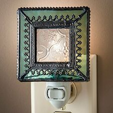 J Devlin NTL 166 Vintage Styled Stained Glass Decorative Night Light with Trim