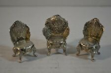 Antique Continental Silver Miniature Chairs
