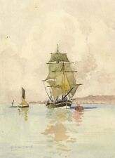 A.M.T., Sailing Boat off Gravesend Kent -Early 20th-century watercolour painting