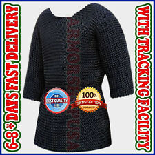 Medieval Chainmail Shirt Large Rust Proof Black Plated Butted Chain Mail Hauberk