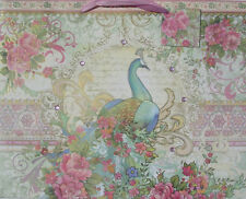 PUNCH STUDIO BAROQUE PEACOCK EXTRA LARGE GIFT BAG: GOLD FOIL & GEM EMBELLISHED!