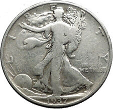 1937 WALKING LIBERTY Half Dollar Bald Eagle United States Silver Coin i44645