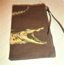 LACOSTE Clutch or Zippered Cosmetic Bag w/Wraparound Alligator LOGO Brown LINEN