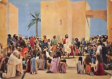 B99155 einzug in jerusalem  Jesus  riding donkey  painting religious postcard