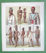 AFRICA Costume & Arms of Timbuctoo Natives - COLOR Antique Print A. Racinet