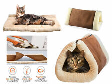 NEW 2 IN 1 KITTY SHACK SELF HEATING PET TUNNEL BED MAT CAT DOG PORTABLE HOT WARM
