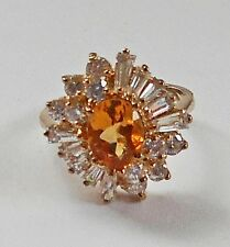 November Birthstone Citrine 925 SS YGP Cocktail Ring Clear/White Baguettes 8.25