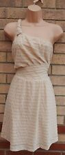 ANGELA BABY CREAM ONE SHOULDER SKATER LACE FLIPPY A LINE PROM TEA VTG DRESS L 14
