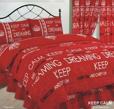 Letto Matrimoniale Set Copripiumino Keep Calm and Carry on Dreaming RED Crown