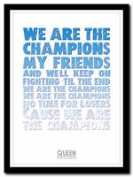 QUEEN - We Are The Champions 2- song lyric poster typography art print - 4 sizes